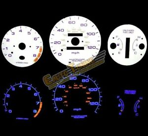 White Indiglo El Gauges Kit Glow Blue Reverse For 96 00 Civic At W Tach Rpm