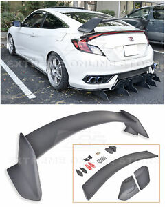 For 16 up Honda Civic Coupe Jdm Type r Primer Black Rear Trunk Lid Wing Spoiler