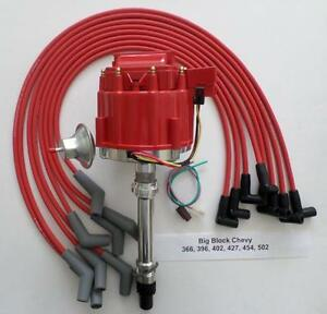Bbc Chevy 396 454 502 Red Hei Distributor Hei Spark Plug Wires 45 Degree Boots