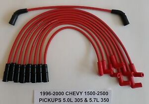 Chevy Vortec 5 7l 350 5 0l 305 1996 2000 Pickups 1500 2500 Red Spark Plug Wires