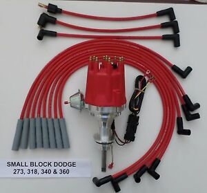 Small Cap Small Block Dodge 318 340 360 Red Hei Distributor Spark Plug Wires