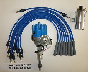 Ford 289 302 Blue Small Female Hei Distributor Chrome Coil Spark Plug Wires
