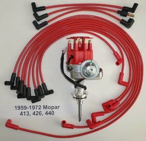 Mopar 413 426 440 1959 1972 Red Small Cap Hei Distributor Spark Plug Wires Usa