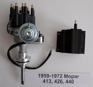 Mopar 413 426 440 Black Ready to run Small Cap Hei Distributor 50k Volt Coil