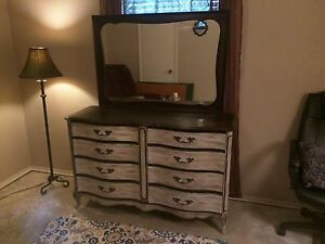 Refurbished Dresser Chic Distressed White And Dark Brown