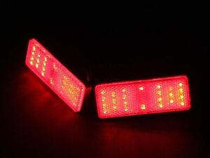 2x Rectangle Reflector Led Red Rear Tail Brake Stop Light Universal Car Truck