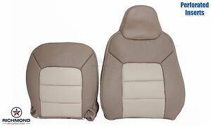 03 06 Expedition Driver Side Complete Perforated Leather Seat Covers 2 Tone Tan