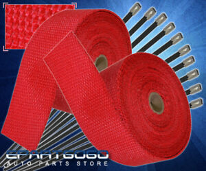 10m Fiberglass Woven Thermal Heat Wrap Shield Roll Exhaust Header Piping Set Red