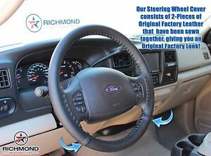 2005 2007 Ford F250 F350 Lariat Crew Quad leather Steering Wheel Cover Black