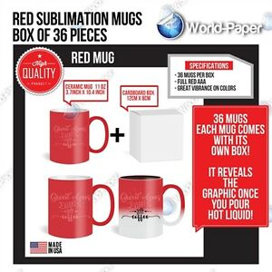 Sublimation Red Changing Mugs 11oz Coated Magic Cup Heat Transfer