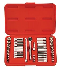 Genius Tools 44pc 1 4 Dr Metric Sae Deep Hand Socket Set Gs 244ms