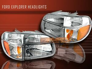 1995 97 2001 Ford Explorer Clear Headlights Signal Bumper 4 Pieces 98 99 00