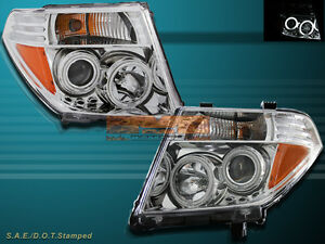Ccfl Halo Projector Headlights Chrome Fit For 05 08 Nissasn Frontier pathfinder