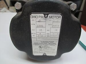 Ohio Electric Motor 12v 1 2 Hp 1200rpm New Take off
