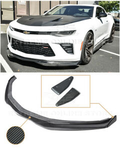 Eos T6 Style Carbon Fiber Front Splitter W Side End Caps For 16 Up Camaro Ss V8