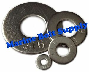 Type 316 Stainless Steel Flat Washers sizes 4 To 3 4