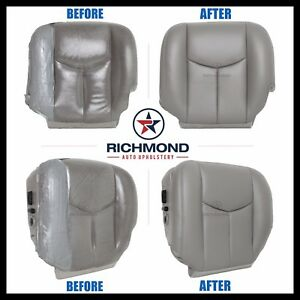 03 06 Chevy Tahoe Suburban Ls With Leather driver Side Bottom Seat Cover Gray
