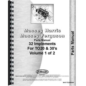 New Massey Ferguson To20 Tractor Parts Manual implements