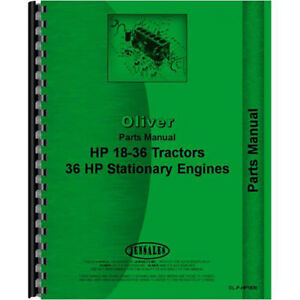 New Oliver hart Parr 18 36 Tractor Parts Manual