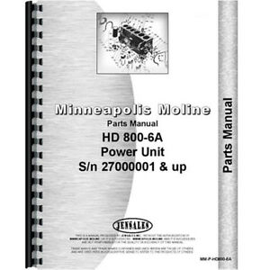 New Minneapolis Moline Hd8006a Power Unit Parts Manual