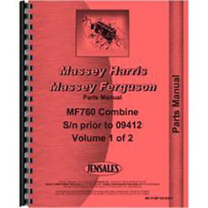 New Massey Ferguson 760 Combine Parts Manual early Includes 2 Volumes