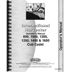 New Tractor Operators Manual For International Harvester Cub Cadet 800 Tractor