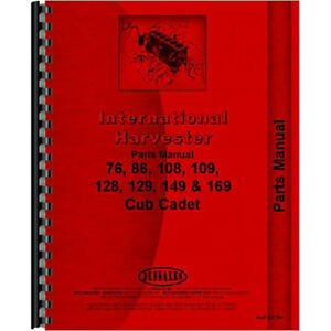 New Tractor Parts Manual For International Harvester Cub Cadet 108 Tractor