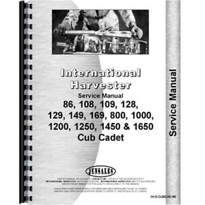 New Chassis Only Service Manual For International Harvester Cub Cadet 129