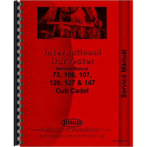 Tractor Service Manual For International Harvester Cub Cadet 106 Tractor