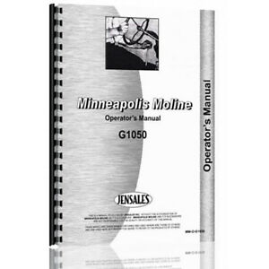 New Minneapolis Moline G1050 Tractor Operator Manual mm o g1050