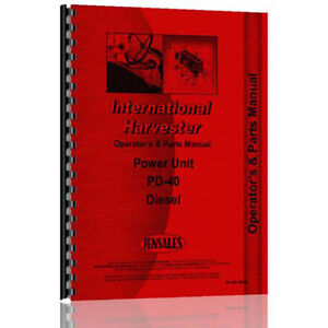 New International Harvester Pd 40 Tractor Operator Parts Manual