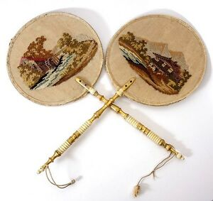 Pair Antique Victorian Hand Embroidered Face Screens Fan Petitpoint