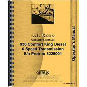 New Case 930 Tractor Operators Manual Comfort King