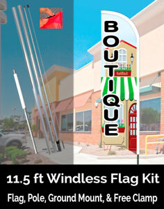Boutique Windless Feather Banner Flag Kit flag Pole Ground Mt
