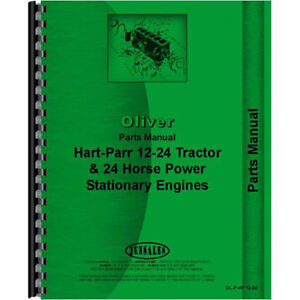 New Oliver hart Parr 24 12 Tractor Parts Manual