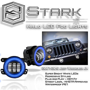 30w Cree 4 In Led Fog Light White Halo Angel Eyes blue Jeep Wrangler Jk 07 16