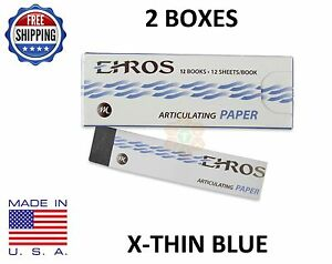 2 Boxes Dental Articulating Paper extra X thin Blue 288 Sheets Made In Usa
