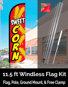Sweet Corn Windless Feather Banner Flag Kit flag Pole Ground Mt