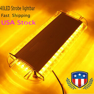 40 Led 22 Emergency Warning Solid Roof Plow Tow Strobe Light Bar 12v Amber Us