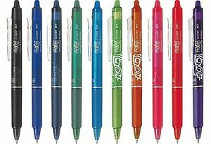 Pilot Frixion Clicker Erasable Rollerball Pen 05 Fine 07 Medium all Colours