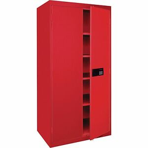 Sandusky Lee Keyless Electronic Steel Cabinet 46w X 24d X 72h Red Ea4e462472 01