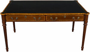 New Antique Style Writing Table Library Desk W Drawers Rounded Corners Leather