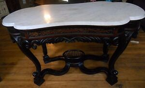 Antique Meeks Victorian Rococo Rosewood Marble Top Parlor Center Table Pick Up