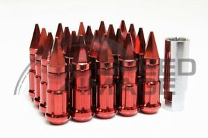 Z Racing Red Drag Spike Extended Steel Lug Nuts Open Set 20 Pcs Key 12x1 5mm