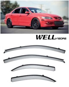 Wellvisors Side Window Deflector Visors With Black Trim Mazda 6 Sedan 2003 2008