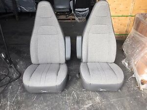 97 Chevy Gmc Express Savanna Van Bucket Seats Chairs Grey Cloth Driver Pass