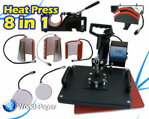 Swing Away Heat Press Machine Transfer Sublimation T shirt Cup Hat Mug 8 In 1
