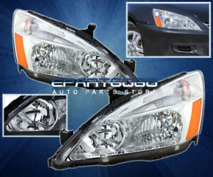 2003 2007 Accord 2 4dr Jdm Chrome Crystal Headlights Front Lamp Replacement Pair
