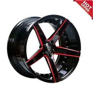 20 Mq 3226 Wheels Black Red Milled Staggered Deep Concave 5x115 Fit 300c Srt