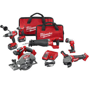 Milwaukee 2896 26 M18 18v Gen 2 Fuel Li ion 6 tool Combo Kit 5 0ah Batteries New